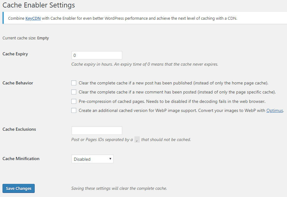 Cache Enabler Settings - Screenshot 4