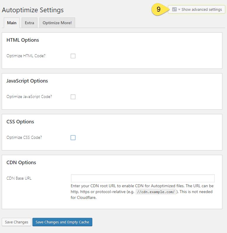 Autoptimize Advanced Settings - Screenshot 8